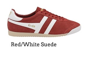 Red/White Suede