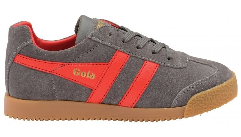 886dc4f2094 Buy Gola kids Harrier trainers in ash/red online at gola.co.uk